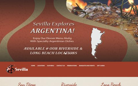 Screenshot of Home Page cafesevilla.com - Best Spanish Restaurant | Authentic Tapas Bar - café sevilla - captured Oct. 2, 2015