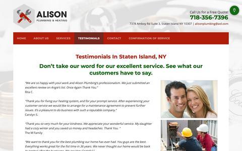 Screenshot of Testimonials Page alisonplumbing.com - HVAC Contractors - Staten Island, NY - Alison Plumbing & Heating - captured Dec. 4, 2018