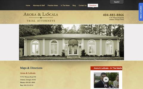 Screenshot of Maps & Directions Page aroralascala.com - Maps & Directions | Atlanta, GA Criminal Defense & Personal Injury Law Firm - captured Sept. 30, 2014