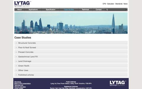 Screenshot of Case Studies Page lytag.com - Case Studies | Lytag® lightweight aggregate - captured Nov. 2, 2014