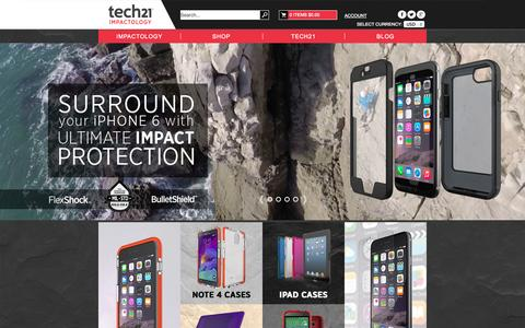 Screenshot of Home Page tech21.com - Tech21 - Protection Made Intelligent | Protective Cases and Covers - captured Jan. 22, 2015