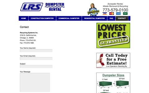 Screenshot of Contact Page recyclingsystemsinc.com - Contact - Dumpster Rental Chicago - captured Oct. 7, 2014