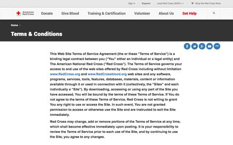 Screenshot of Terms Page redcross.org - Terms and Conditions | American Red Cross | Intellectual Property - captured March 31, 2016