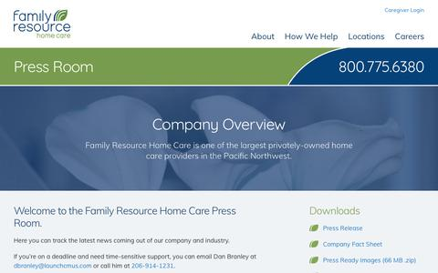 Screenshot of Press Page familyresourcehomecare.com - Family Resource Home Care Services Press Room - captured Dec. 9, 2018