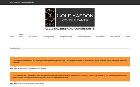 Screenshot of Testimonials Page coleeasdon.com - Testimonials - Cole Easdon Consultants - captured Nov. 9, 2016