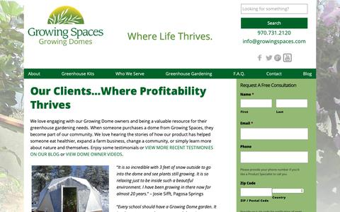 Screenshot of Testimonials Page geodesic-greenhouse-kits.com - Home Greenhouse Testimonials - Growing Spaces - captured Sept. 30, 2018