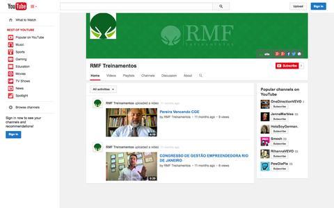 Screenshot of YouTube Page youtube.com - RMF Treinamentos  - YouTube - captured Oct. 26, 2014