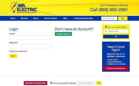 Screenshot of Login Page mrelectric.com - | Mr. Electric - captured Oct. 29, 2014