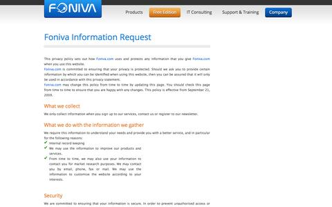 Screenshot of Privacy Page foniva.com - Contact Center Software - Call Center Software - Computer Telephony Integration - Foniva. - captured Sept. 30, 2014