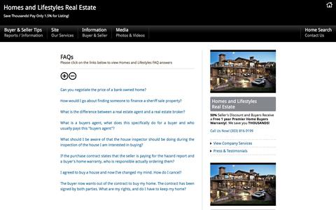 Screenshot of FAQ Page denverhomeliving.com - FAQ Homes and Lifestyles, Denver Colorado Real Estate, Denver Colorado Homes for sale – Free Reports Denver Colorado Homes - captured Aug. 28, 2017