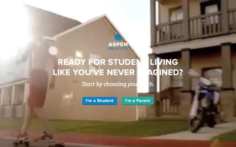Screenshot of Home Page myaspenheights.com - Student Housing and Apartments | Aspen Heights - captured Dec. 26, 2015