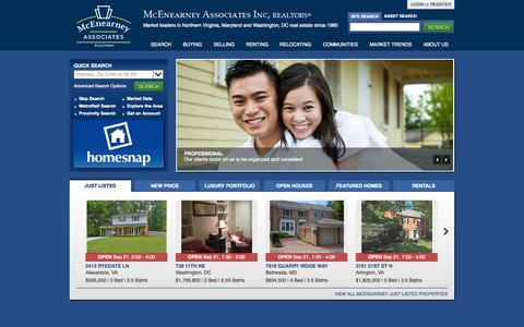 Screenshot of Home Page mcenearney.com - McEnearney Associates, Inc. REALTORS | Real Estate in Northern Virginia, Washington DC & Maryland - captured Sept. 22, 2014