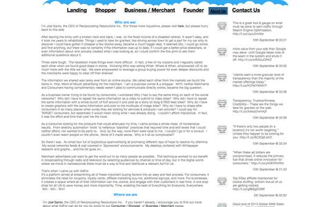 Screenshot of About Page adfor.us - About Us - captured Oct. 4, 2014