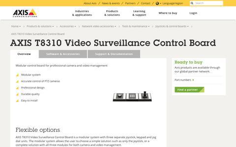 Screenshot of axis.com - AXIS T8310 Video Surveillance Control Board | Axis Communications - captured Nov. 17, 2017