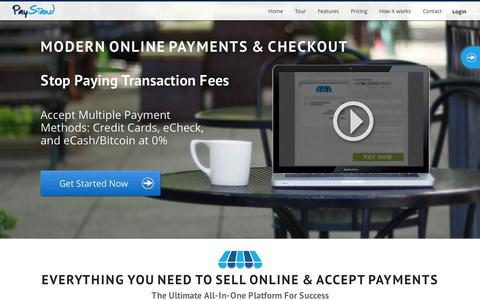 Screenshot of Home Page paystand.com - PayStand | Accept Credit Cards, eCheck and Bitcoin with 0% Transaction Fees - captured Sept. 12, 2014