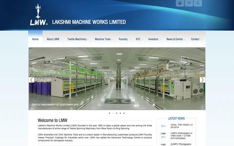 Screenshot of Home Page lakshmimach.com - LAKSHMI MACHINE WORKS LIMITED |LAKSHMI MACHINE WORKS LIMITED - captured Oct. 1, 2014