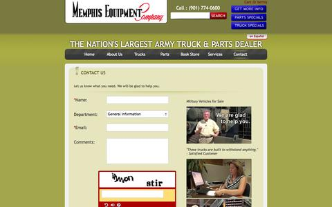 Screenshot of Contact Page memphisequipment.com - Used military vehicles for sale | Military surplus tires, engines & parts - captured Oct. 27, 2014