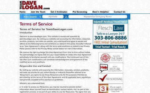 Screenshot of Terms Page teamdavelogan.com - Terms of Service - TeamDaveLogan.comTeamDaveLogan.com - captured Dec. 3, 2016