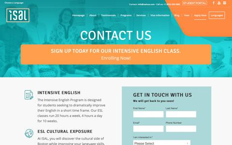 Screenshot of Contact Page isalusa.com - English as a Second Language (ESL) in Boston - ISAL School - captured Oct. 12, 2018