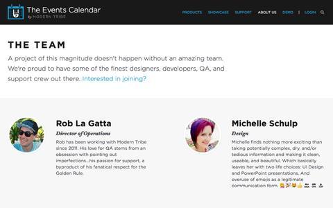 Screenshot of Team Page theeventscalendar.com - The Team - The Events Calendar - captured June 25, 2016