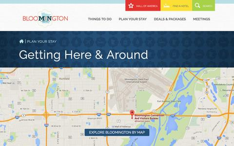 Screenshot of Maps & Directions Page bloomingtonmn.org - Twin Cities Vacation Planning - Getting around, Directions, Bloomington MN - captured Nov. 22, 2016