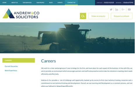 Screenshot of Jobs Page andrew-solicitors.co.uk - Careers - Andrew & Co Solicitors - captured Nov. 20, 2016