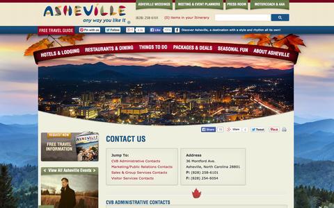 Screenshot of Contact Page exploreasheville.com - Contact Us - Explore Asheville, NC's Official Tourism Site - captured Sept. 25, 2014