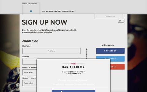 Screenshot of Signup Page diageobaracademy.com - Diageo Bar Academy | SIGN UP NOW - captured Aug. 6, 2018