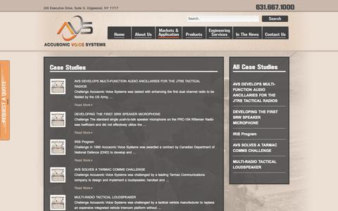 Screenshot of Case Studies Page accusonicvoicesystems.com - Accusonic Voice Systems | Case Studies - captured Sept. 30, 2014