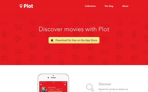 Screenshot of Home Page plotapp.io - Discover movies, try Plot App for iPhone | Plot Movies - captured April 30, 2016