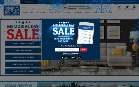 Screenshot of Home Page roomstogo.com - Furniture Store: Affordable Home Furniture for Less Online - captured May 18, 2018