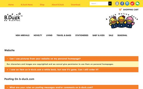 Screenshot of FAQ Page b-duck.com - FAQs – B.Duck Official Website & Online Shop - captured Jan. 30, 2018