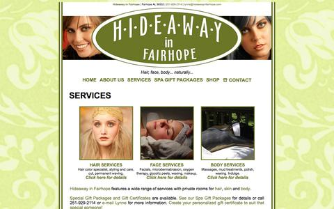 Screenshot of Services Page hideawayinfairhope.com - Services | Hideaway in Fairhope Organic Salon Spa Fairhope AL - captured July 6, 2016