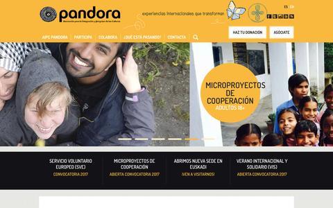 Screenshot of Home Page aipc-pandora.org - www.aipc-pandora.org | Experiencias internacionales que transforman - captured May 28, 2017
