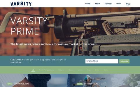 Screenshot of Blog varsitybranding.com - Senior Living Blog - Varsity - captured Oct. 27, 2017