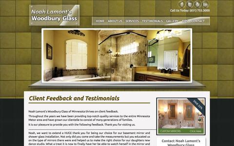 Screenshot of Testimonials Page woodburyglass.com - Customer Feedback and Testimonials | Woodbury Glass - captured Oct. 1, 2014