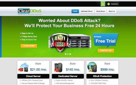 Screenshot of Home Page clear-ddos.com - DDoS Protection Service, Advanced Anti DDoS Server, Cloud, VPS, Hosting - ClearDDoS - captured Jan. 29, 2015