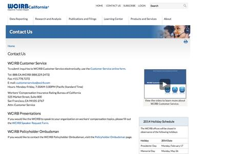 Screenshot of Contact Page Hours Page wcirb.com - Contact Us | WCIRB California - captured Oct. 26, 2014