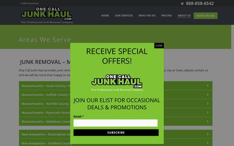 Screenshot of Locations Page onecalljunkhaul.com - Junk Removal Services, Dumpster Rentals- MA, NH & CT | One Call Junk Haul - captured Nov. 2, 2017