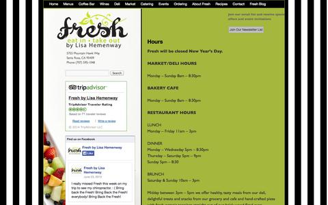Screenshot of Hours Page freshbylisahemenway.com - Lisa Hemenway's Fresh: Market, Restaurant Hours | Fresh by Lisa Hemenway - captured Oct. 29, 2014