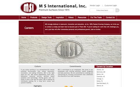 Screenshot of Jobs Page msistone.com - Careers | M S International, Inc. | Premium Surfaces - captured Nov. 17, 2015