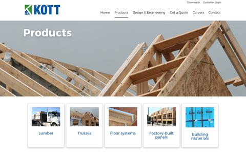Screenshot of Products Page kottlumber.com - KOTT Lumber  Products - captured June 9, 2017
