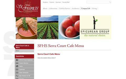 Screenshot of Menu Page stfrancishs.org - Menu - St. Francis Catholic High School - captured June 3, 2016