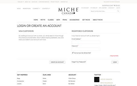 Screenshot of Login Page michebag.ca - Customer Login - captured Nov. 3, 2014