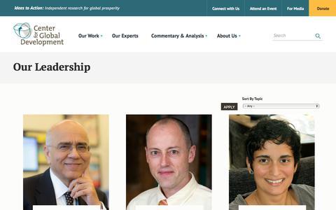Screenshot of Team Page cgdev.org - Our Leadership | Center For Global Development - captured Sept. 22, 2018