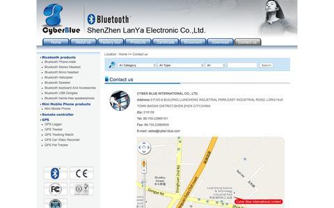 Screenshot of Contact Page cyber-blue.com - Cyber-Blue International co., Ltd. - captured Feb. 2, 2016