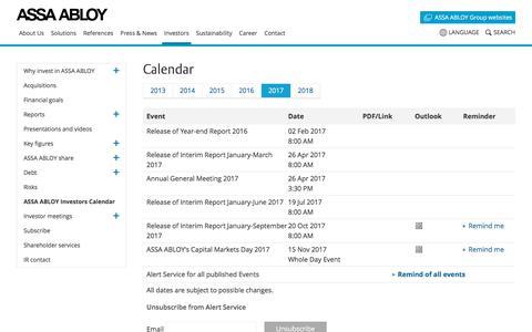 Screenshot of assaabloy.com - ASSA ABLOY Group | Investors Calendar - captured Oct. 9, 2017