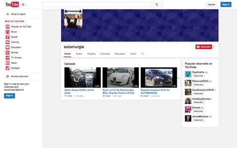 Screenshot of YouTube Page youtube.com - automurgia  - YouTube - captured Oct. 29, 2014