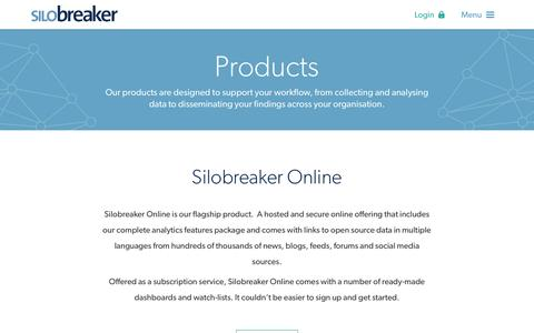 Screenshot of Products Page silobreaker.com - Products - Silobreaker - captured May 22, 2016