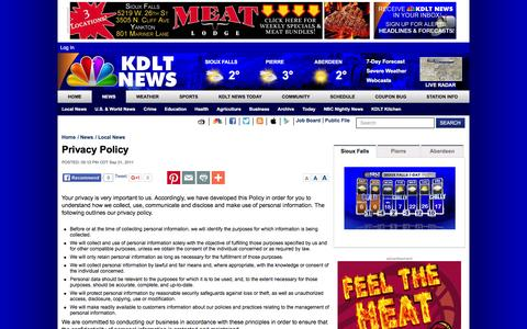 Screenshot of Privacy Page kdlt.com - Privacy Policy | KDLT.com South Dakota News - News, Sports, and Weather Sioux Falls South Dakota - captured Jan. 9, 2016